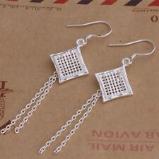 925 Striking Eastern Tribal Silver Woven Square Drop Earrings Halloween Day