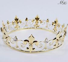 Imperial Medieval Tiara Crown Full Round Rhinestone Bridal Wedding Pageant Party