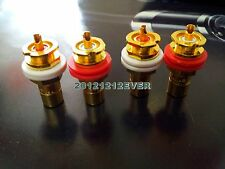 4Pc HIFI CMC Copper Gold Plated RCA Socket Connector Chassis AMP PHONO