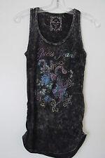 Guess Jeans Black Acid Wash Tie Dye Knit Tank Top w/ Floral Embellishment SIZE:S
