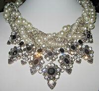 Statement-Halskette,XXL-Collier, Perlen+Strass-Kristalle, Braut, Hochzeit,Blumen
