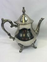 Beautiful Vintage Ornate Silver Plated Four Footed Decorative Tea Pot