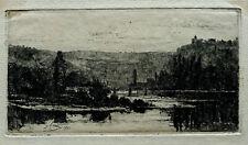 GASTON COINDRE Vue de Besançon Doubs 1873  eau-forte originale  Franche Comté
