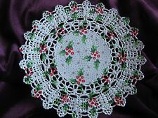 VTG 5.5 INCH OFF WHITE CHRISTMAS Holly Berry LACE DOILY 4 PCS CARDS RARE HTF