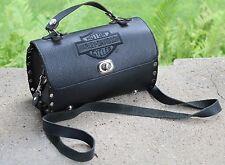 Estate- Harley Davidson - Black Leather Barrel Studded Shoulder Bag Purse - MINT