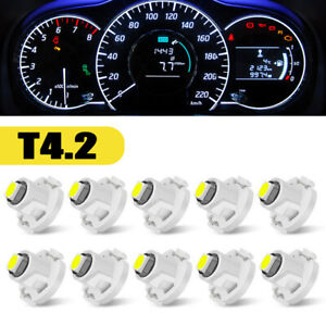 10x White T4.2 Neo Wedge 1SMD LED Cluster Instrument Panel Lamp Dash Light Bulbs
