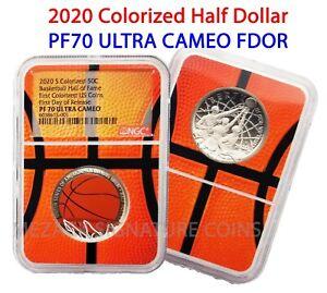 2020 S 50C Basketball Hall of Fame Colorized Half Dollar PF70 Ultra Cameo FDOR