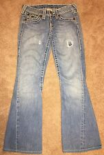 True Religion Joey Big T Distressed Twisted Flare Jeans Size 27...(30x29)GUC