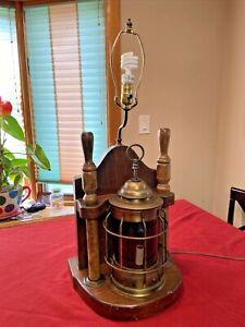 VINTAGE 1970'S CARRINGTON Wood/Brass NAUTICAL LAMP  PORT LANTERN~3 Way Switch⚓️⛵