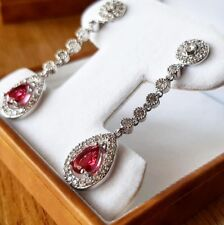 White gold finish red ruby and created diamond pearcut drop earrings
