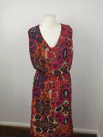 Label Be Hot Pink Moroccan Print V Neck Sleeveless Skater Midi Dress Size 20