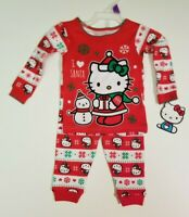 HELLO KITTY Girls' Christmas Santa Cotton Pajamas 2 PIECE - Long Sleeve + Pants