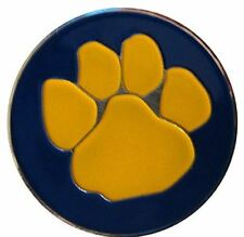 Yellow Paw on Blue Golf Ball Marker with Matching Hat Clip