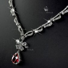 18k white gold gf made with SWAROVSKI crystal pendant party wedding necklace