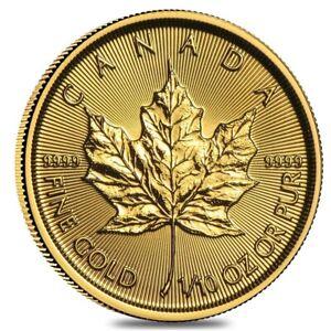 2021 1/10 oz Canadian Gold Maple Leaf $5 Coin .9999 Fine BU (Sealed)