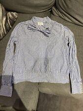Sezane Blue Stripe Tie Neck Blouse 38/10