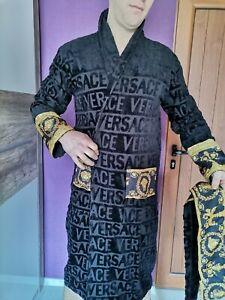 New Soft Cotton Bathrobe Unisex Handmade with Versace Medusa Symbol Black color