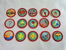 "15 Vintage Girl Scout Round Progressive Proficiency Badges, Red Border B 1-1/2"""