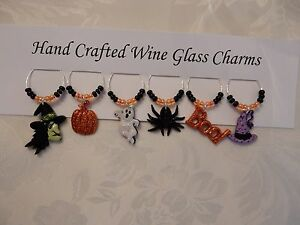 """""""HALLOWEEN  GLITTER """"Set of 6 hand crafted"""" Wine Glass Charm drink markers"""