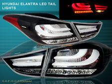 2011 - 2013 ELANTRA LED TAIL LIGHTS BLACK 4PCS (OUTER PCS W/ BULB) BMW STYLE