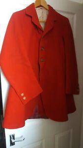 "Vtg Bespoke Albrighton Woodland Hunt Red Melton Cloth Hunting Coat size 38"""