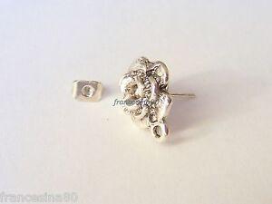 4 ganci basi orecchini a Rosa 11mm con retro farfallina fiore argento