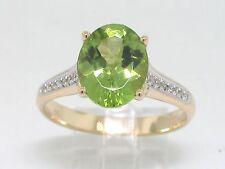 Peridot Ring 585 Gelbgold 14Kt Gold natürlicher großer Peridot und 16 Brillanten