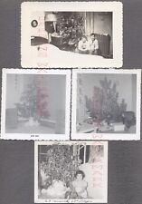 Lot of 4 Vintage Snapshot Photos Christmas Tree in Home Interior 701107