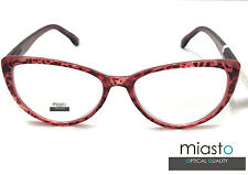 """(2 PAIRS) MIASTO """"BIG CAT EYE"""" SEXY READER READING GLASSES+3.00 LARGE COLORS RED"""
