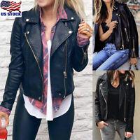 Plus Size Womens PU Leather Jacket Coat Zip Up Biker Casual Flight Coat Outwear