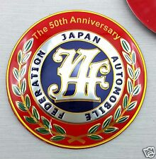 1X JAF 50th ANNIVERSARY JAPAN EMBLEM FEDERATION AUTOMOBILE ALUMINIUM STICKER