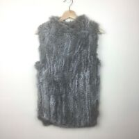The Cashmere Project Vest Size Medium 100% Rabbit Fur Cashmere Back Gray Pockets