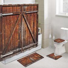 Brown Barn Wooden Door Shower Curtain Toilet Cover Rug Bath Mat Contour Rug Set
