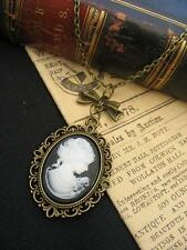 Vittoriano Steampunk LADY Cameo ciondolo bronzo COLLANA FIOCCO VINTAGE SILHOUETTE