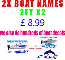 """Boat Name Stickers 2FT X 6""""  X 2  VINYL Decal  600x150mm 33 AMAZING FONTS"""