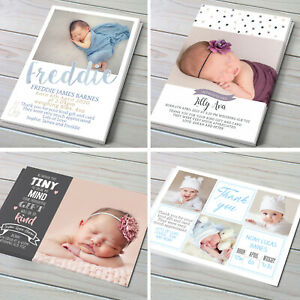 Baby Thank You Cards, Personalised Photo, Birth Announcement, N1-8