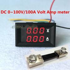 Dual LED Digital Voltmeter Ammeter Amp Volt Meter + Current Shunt DC 100V 100A