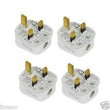 10 x Standard UK Fused 13A 13 Amp White Mains 3 Pin Houshold Plugs