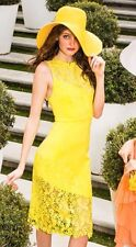New Alice + Olivia Margy Lemon Yellow Guipure Floral Lace Embroidered Dress US 2