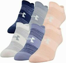UNDER ARMOUR ESSENTIAL NO SHOW SOCKS 6-PAIRS Women's Peach Frost Medium Size 6-9