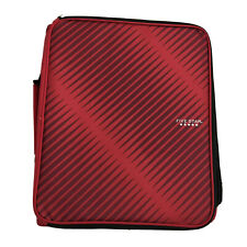 Mead Five Star Zipper Binder 2' 3 Ring 530 Sheet Cap Pockets File Folder Red