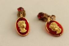 VIntage Cameo Clip Earrings Red Goldtone