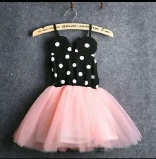 NEW * WEDDING PARTY MINNIE MOUSE  DRESS * BABYGIRL 3-4 YEARS * PEACH * UK STOCK