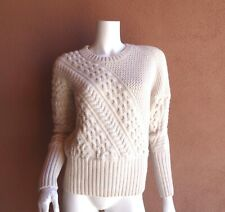 f96e57a6683094 BURBERRY HEAVY WEIGHT CABLE KNIT WOOL / CASHMERE SWEATER IN IVORY,SZ M,$898