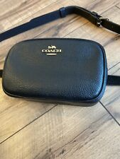 COACH Convertible Belt Bag Pack Crossbody Logo Leather Black Gold F73952