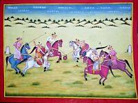 Mughal Emperor Polo Sport Painting Handmade Indian Moghul Empire Miniature Art