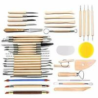 CestMall Pottery Clay Sculpting Tools, 42Pcs Wooden Pottery Carving Tool Set