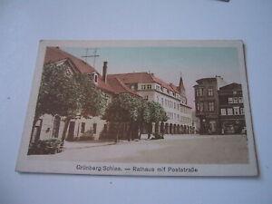AK - Grünberg - Schlesien - Rathaus mit Poststrasse - ungelaufen