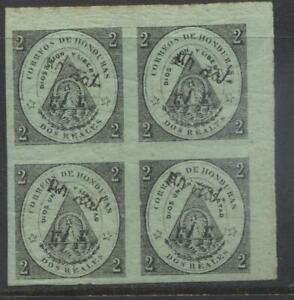 Honduras 1877 Tegucigalpa 1r on 2r green paper mint block of 4