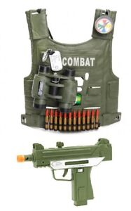 BOYS ARMY VEST WITH GUN UZI PISTOL AND ACCESSORIES ARMY DRESS UP COSTUME ROLE  P